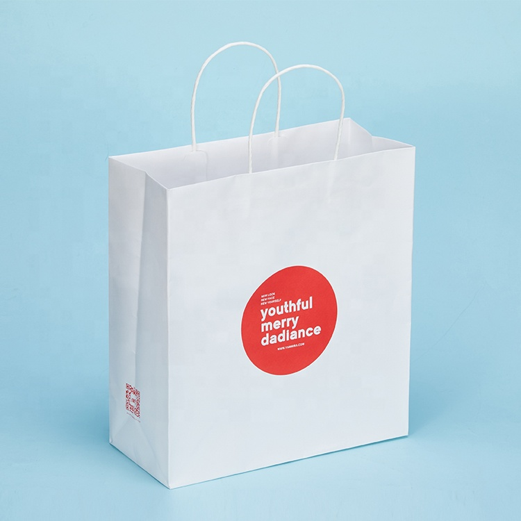 OEM shopping white Kraft paper bag