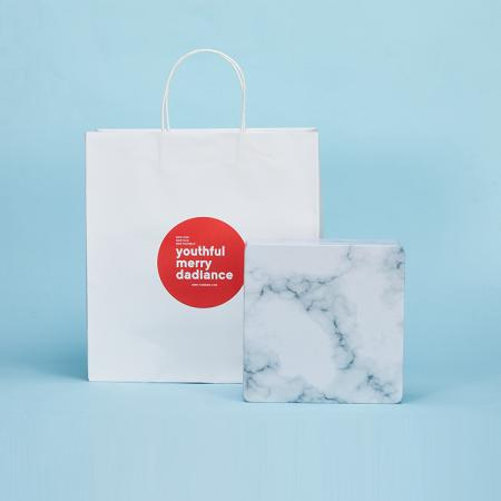 OEM shopping white Kraft paper bag custom