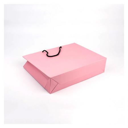 Personalized Pink Matte Laminated Paper Bag With Logos customized